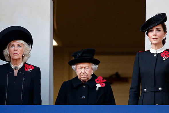 Kate-the-Queen-and-Camilla-stood-in-a-balcony-above-the-Cenotaph-in-Whitehall-Image-GETTY